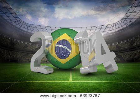 Brazil against large football stadium with lights