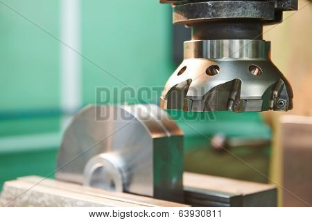 industrial metal machining cutting process of blank detail by milling cutter with hardmetal carbide insert