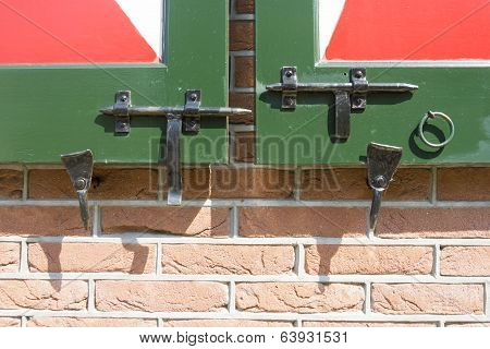Close-up Shot Of A Latches On A Wooden Dutch Doors