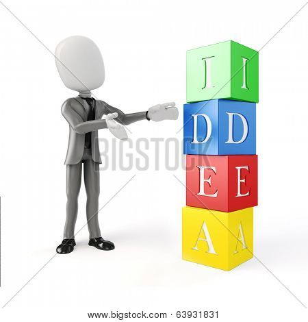 3d man and colorful blocs with IDEA text