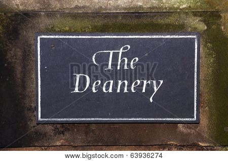 The Deanery sign, Lichfield.