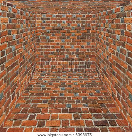 Room With All Walls Nade From Red Bricks