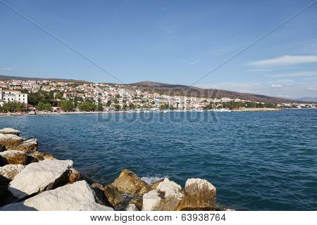 Coastline and buildings of Crikvenica, small city situated near Rijeka in the Primorje-Gorski Kotar county of Croatia. poster