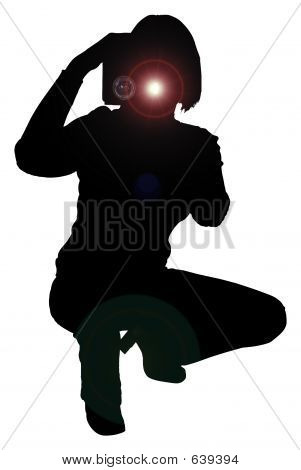 Silhouette With Clipping Path Of Woman With Camera