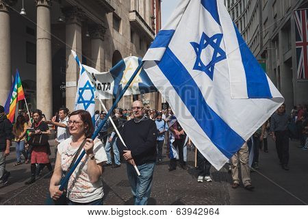 Jewish People Taking Part In The Liberation Day Parade In Milan