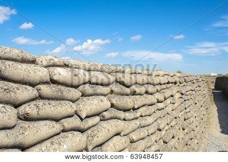 Trench World War Sandbags And Blue Sky