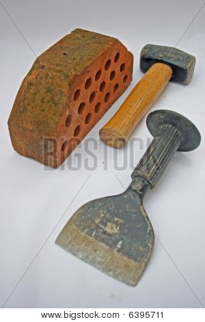 Hammer, bolster and brick.