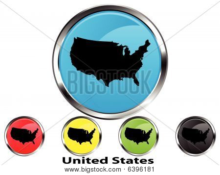 Glossy vector map button of United States of America (USA)