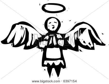 Woodcut Angel