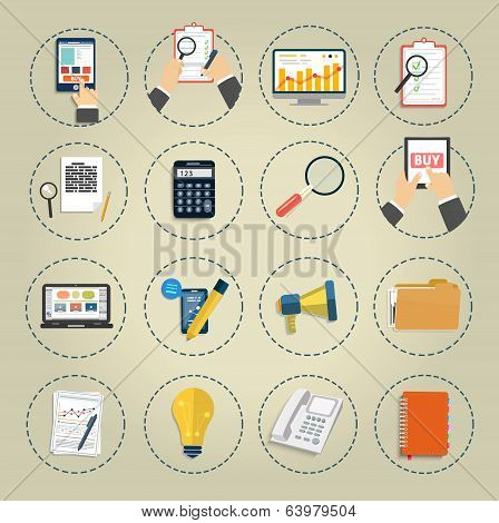Set Of Various Financial Service Items