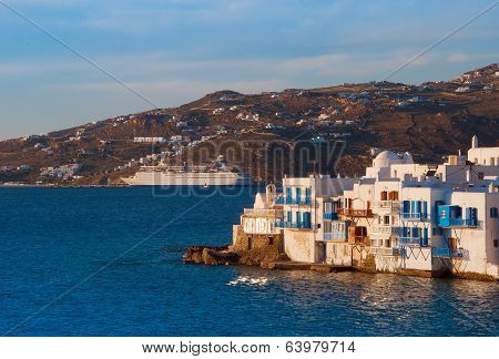 Little Venice On Mykonos And The Cruise Ship At Sunset...