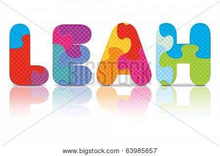 LEAH written with alphabet puzzle - vector illustration