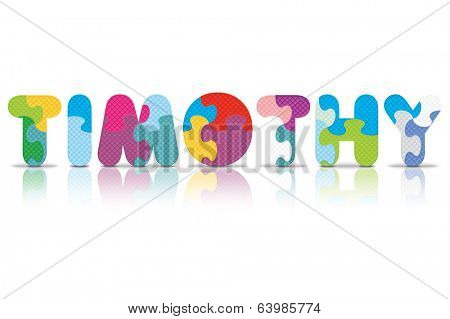 TIMOTHY written with alphabet puzzle - vector illustration
