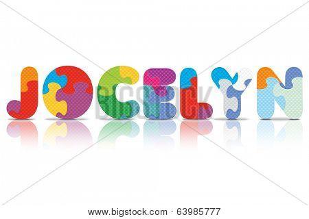 JOCELYN written with alphabet puzzle - vector illustration