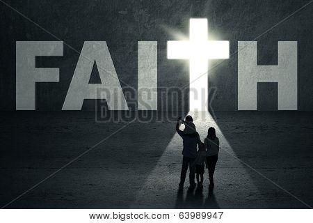 Family Walks Toward Faith Door
