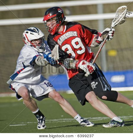 High School Boys Varsity Lacrosse blocking