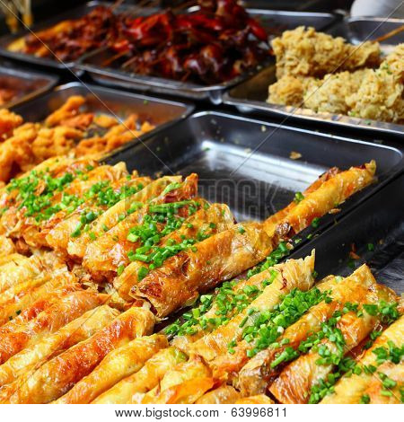 Spring rolls. Street fast food in Shanghai, China