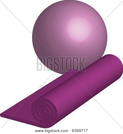Yoga purple Mat and ball