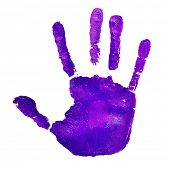 a violet handprint on a white background, depicting the idea of to stop violence against women, as violet is used by the feminist movement poster