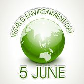 World Environment Day concept with shiny globe and stylish text on grey background.  poster