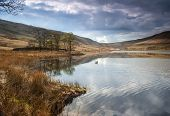 widdop reservoir in yorkshire popular with walkers and mountain bikers poster
