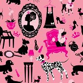 Seamless pattern with glamour accessories furniture girl portrait and dogs (Dalmatian dachshund terrier poodle chihuahua) - black silhouettes on pink background. Ready to use as swatch. poster
