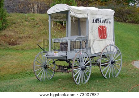 1800s Ambulance, used during the civil war, and Spanish war. poster