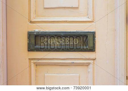 Letters Slot At Old Wooden Door In Lisbon, Portugal