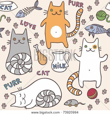 ?ute cats seamless pattern