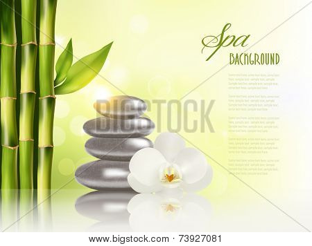 Spa background with massage stones and bamboo. Vector.