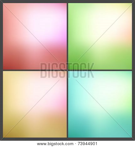 Four smooth colorful backgrounds collection. Vector illustration poster