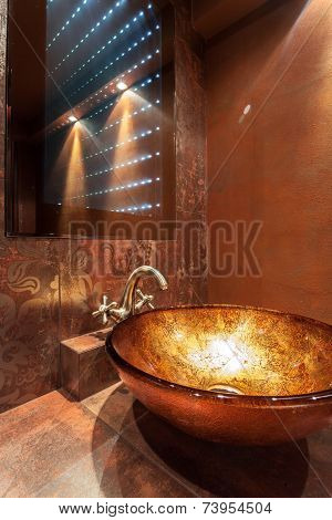 Glass Washbowl And Modern Mirror