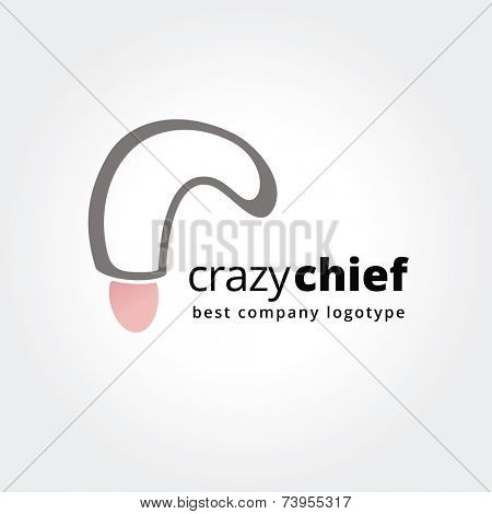 Abstract chief logo icon concept isolated on white background for business design. Key ideas is kitchen, cook, chief, cooking, corporate, design. Concept for corporate identity and branding. Stock