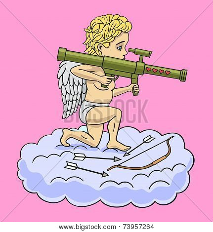Cupid with a grenade launcher.
