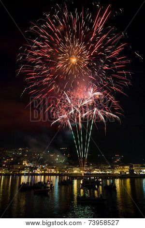 Firework on August the 15th in Parga Epirus Greece