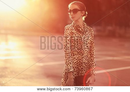 Fashion Lifestyle Portrait Woman In A Dress With Leopard Print