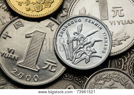Coins of China. Iris or orchid flowers depicted in the Chinese one Jiao coin and the Chinese one Yuan coins.