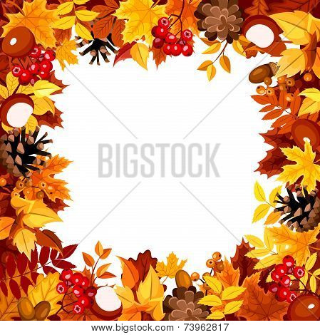 Frame with autumn colorful leaves. Vector illustration.