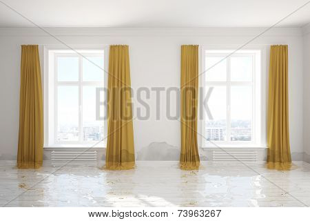 3D Illustration Water damager after flooding in room with mold on the wall