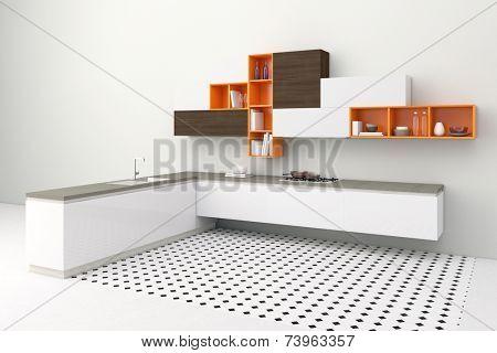3D Illustration Modern kitchenette in kitchen with orange cupboards