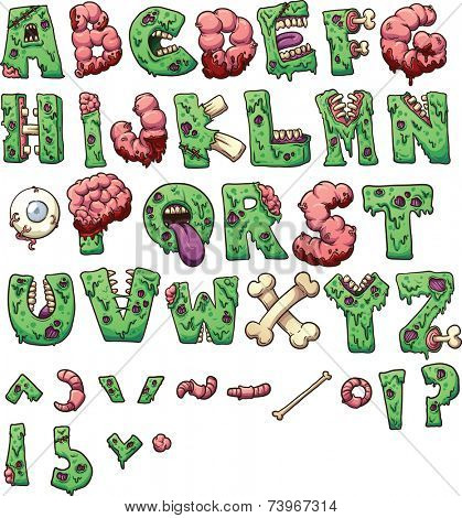 Zombie letters and symbols. Please be aware that this is not a font. Vector clip art illustration with simple gradients. Each element on a separate layer.