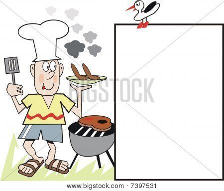 Barbecue chef cartoon