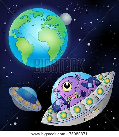 Flying saucers near Earth - eps10 vector illustration.