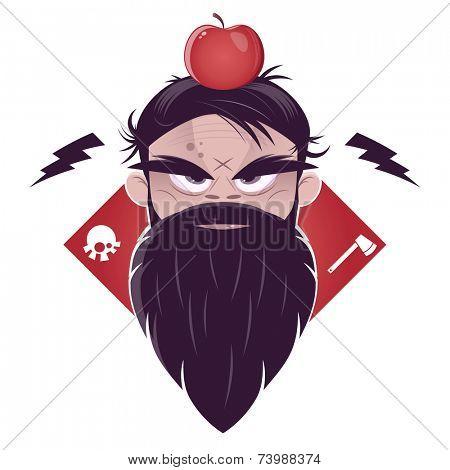 evil man with a long beard and an apple on his head