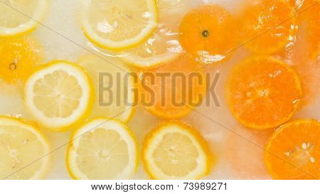 citrus delicious fresh fruit ice cream with pieces of lemon and orange in sweet syrup poster
