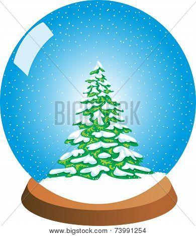 Snow Globe with a Wintery Pine Tree