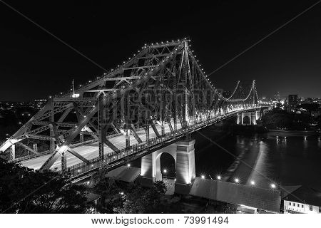 Brisbane Story Bridge by Night - black and white