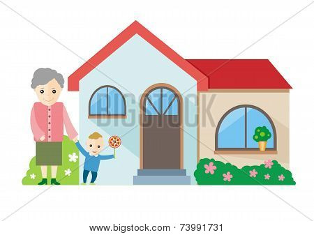 A vector illustration of a grandmother playing with her grandchildren