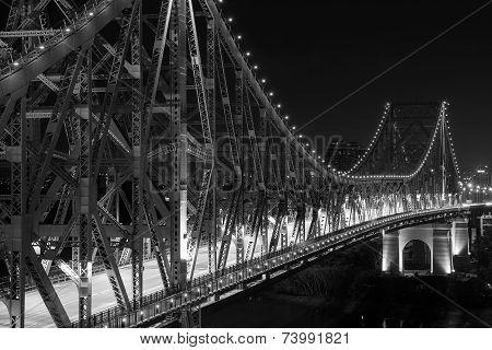 Brisbane Story Bridge closeup by Night - black and white