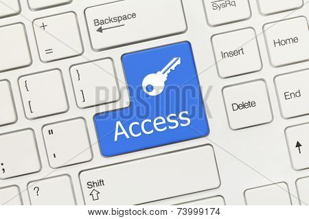 White Conceptual Keyboard - Access (blue Button With Key Symbol)